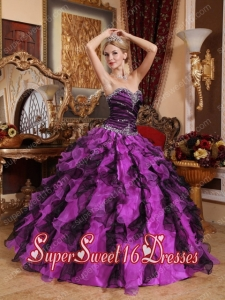 Sweetheart Organza Beading and Ruffles Popular Sweet 16 Dresses in Purple and Black