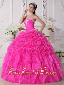 Embroidery Beading Ball Gown Strapless Organza Pretty Quinceanera Dresses in Pink