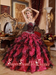 Red and Black Sweetheart Pretty Quinceanera Dresses with Beading and Ruffles