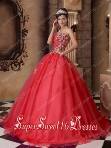Ball Gowns In Red A-line Sweetheart With Floor-length Organza Beading Sweet 16