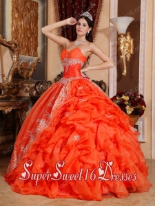Beautiful Red Ball Gown Sweetheart Floor-length Organza Beading For Sweet 16