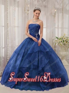 Blue Ball Gown Strapless Floor-length Organza Beading Simple Sweet Sixteen Dresses