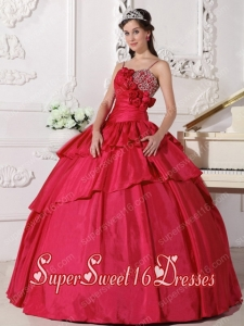 Coral Red Ball Gown Straps Floor-length Taffeta Beading Sweet Sixteen Dresses Simple