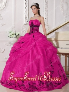 Coral Red and Black Ball Gown Strapless Floor-length Organza Appliques Simple Sweet Sixteen Dresses