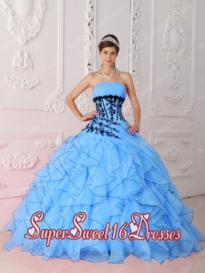 Elegant Sweet Strapless With Appliques and Ruffles Aqua Blue For Sweet 16 Ball Gowns