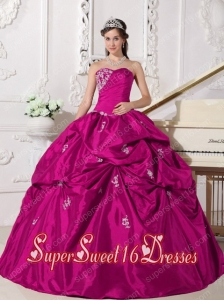Fuchsia Ball Gown Sweetheart Floor-length Taffeta Beading Simple Sweet Sixteen Dresses