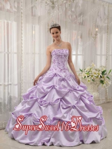 Lavender Ball Gown Strapless Floor-length Taffeta Appliques Sweet Sixteen Dresses Simple