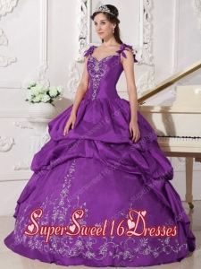 Purple Ball Gown Simple Straps Floor-length Taffeta Embroidery Sweet Sixteen Dresses