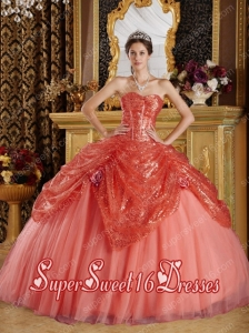 Rust Red Ball Gown Sweetheart With Floor-length Sequined and Tulle Handle Flowers Sweet 16 Ball Gowns
