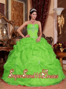 Spring Green Ball Gown Sweetheart Floor-length Organza Beading Simple Sweet Sixteen Dresses
