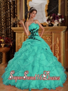 Turquoise Sweetheart With Floor-length Organza Appliques Sweet 16 Ball Gowns