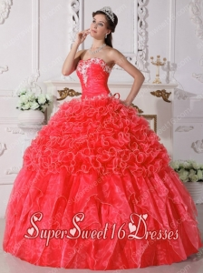 Coral Red Appliques Beading and Ruffels Ball Gown Strapless Organza Sweet Fifteen Dress