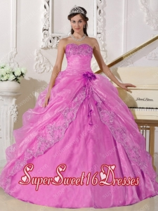 Fashionable Strapless A-line Organza Sweet Fifteen Dress in Rose Pink With Beading and Hand Made Flowers