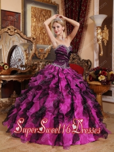 Fuchsia and Black Sweetheart Beading and Ruffles Sweet Fifteen Dress with Ruching