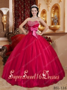 Red Tulle and Taffte Sweetheart Beading Ball Gown Sweet Fifteen Dress with Bowknot