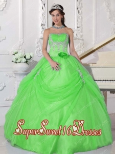 Spring Green Ball Gown Strapless Taffeta and Organza Sweet Fifteen Dress with Appliques and Hand Made Flower