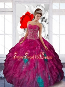 2015 Artistic Sweetheart Appliques and Ruffles 15th Birthday Party Dresses in Multi Color