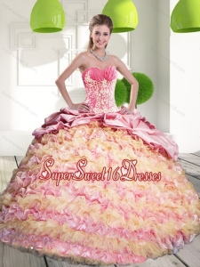 2015 Brand New 15th Birthday Party Dresses with Ruffled Layers and Appliques