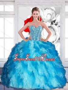 2015 Elegant Sweetheart Multi Color Military Ball Dresses with Beading and Ruffled Layers