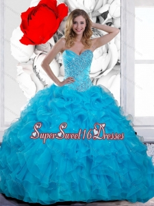 2015 Inexpensive Beading and Ruffles Sweetheart 15th Birthday Party Dresses in Teal