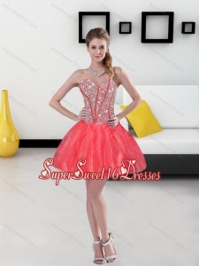 2015 Remarkable Beading Mini Length Dama Dresses in Coral Red