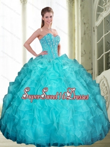 2015 Romantic Beading and Ruffles Sweetheart Quinceanera Dresses in Aqua Blue