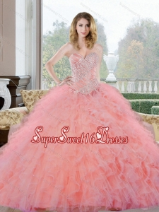2015 Wonderful Beading and Ruffles Sweetheart 15th Birthday Party Dresses