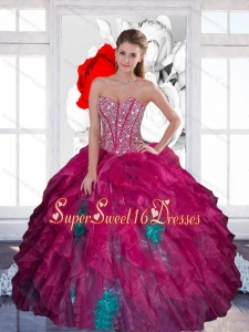 Beautiful Sweetheart Beading Multi Color 2015 Quinceanera Dress with Ruffles