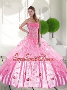 Decent Sweetheart 2015 15th Birthday Party Dresses with Appliques and Ruffled Layers