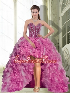 Dynamic High Low Beading and Ruffles 2015 Dress for 2015 Dama Dresses
