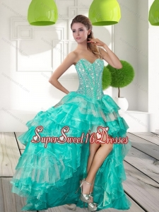 Fashionable Beading and Ruffled Layers High Low Dama Dresses for 2015