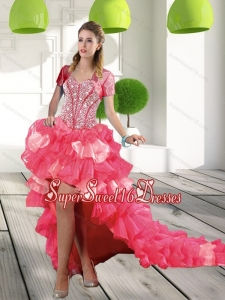 Most Popular Coral Red High Low 2015 Dama Dresses with Beading and Ruffled Layers