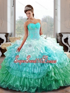The Super Hot Sweetheart 2015 15th Birthday Party Dresses with Appliques and Ruffled Layers