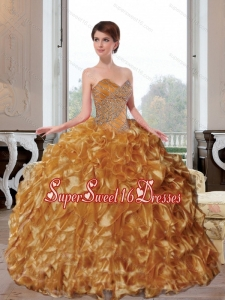 2015 Wonderful Sweetheart Appliques and Ruffles Quinceanera Dresses