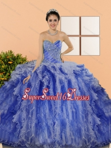 Custom Made Beading and Ruffles Sweet 15 Dresses in Multi Color