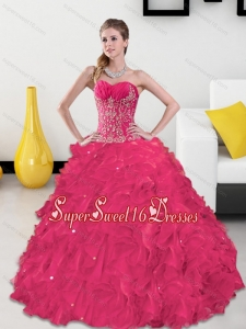Inexpensive Sweetheart Quinceanera Gown with Appliques and Ruffles