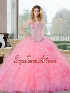 New Style Beading and Ruffles Sweetheart Sweet 16 Dresses for 2015