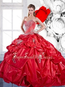 New Style Pick Ups and Appliques 2015 Red Sweet 16 Dresses with Brush Train