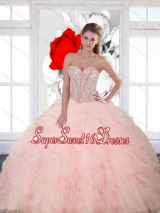Popular Beading and Ruffles Sweetheart Modest Sweet Sixteen Dresses for 2015 Spring