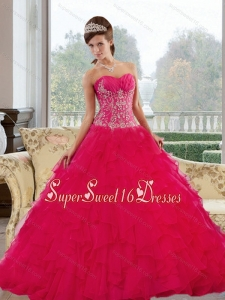 Romantic Sweetheart 2015 Red Quinceanera Gown with Appliques and Ruffles