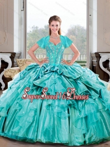 Sweetheart Beading and Ruffles Turquoise Modest Sweet Sixteen Dresses for 2015 Spring