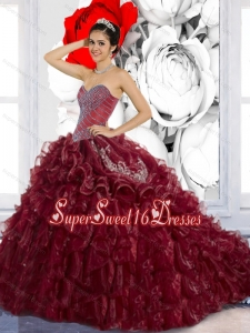 Wonderful Sweetheart Ruffles and Appliques Quinceanera Dresses for 2015