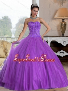 2015 Popular Sweetheart Sweet 16 Ball Gowns with Beading