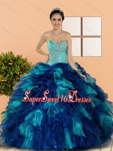 Modest Sweetheart Beading and Ruffles Sweet Sixteen Dresses in Multi Color