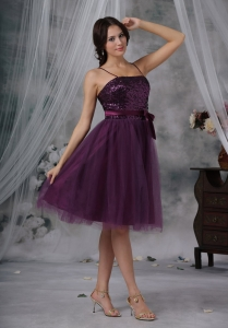 Purple A-Line / Princess Spaghetti Straps Knee-length Tulle Paillette Dama Dresses for Sweet 16