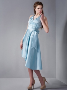 Aqua Blue Halter Asymmetrical Elastic Woven Satin Ruch Dama Dresses for Sweet 16