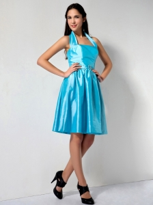 Aqua Blue Halter Knee-length Taffeta Dama Dress