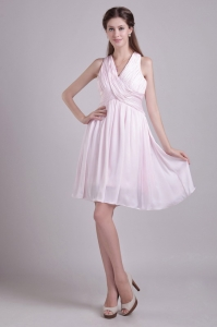 Baby Pink Empire V-neck Short Chiffon Ruch Dama Dresses for Sweet 16