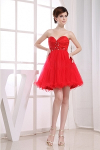 Beading Sweetheart Tulle Mini-length A-Line Red Dama Dress