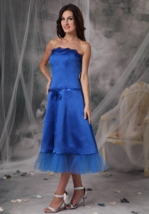 Blue A-Line/Princess Strapless Tea-length Taffeta Sashes/Ribbons Dama Dresses